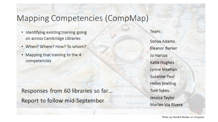 A slide describing the goals and team of the Mapping Competencies group, identifying existing training and mapping it to the four competencies.