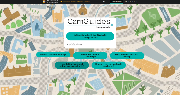 a screenshot of the CamGuides for Undergraduates page